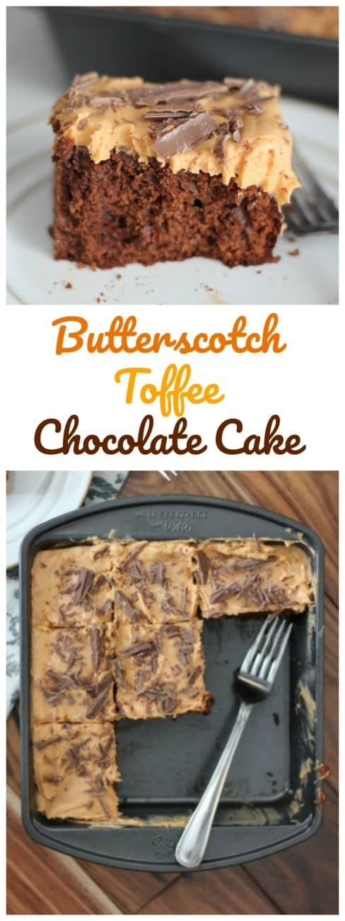 Butterscotch Toffee Chocolate Cake - This cake explodes with the best flavor combinations ever! #butterscotch #guittard #toffee #chocolate #cake #frosting #baking #holiday