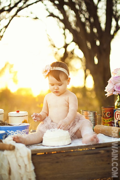 First birthday. Baby and cake.