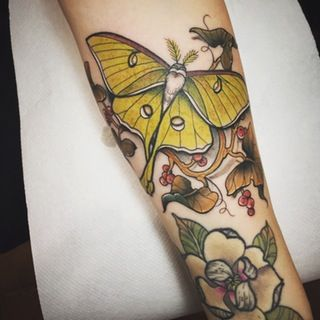 Luna Moth by Stefano Giorgi at Kiss Me Darlin' Tattoo; Rome, Italy : tattoos