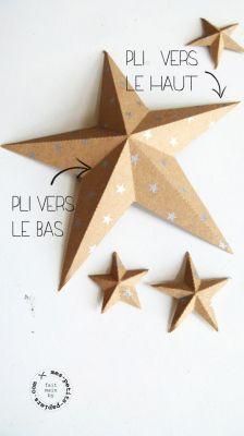 Dîner la tête dans les étoiles ça vous dit? Pour Noël ou pour le jour de l'an? Télécharger le modèle, découper des étoiles dans du papier épais, tracer les lignes de pliage, suivre les instructions...