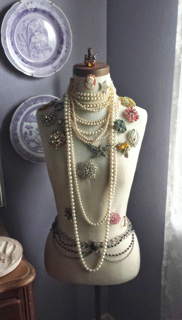 vintage inspired jewelry display on a dress form
