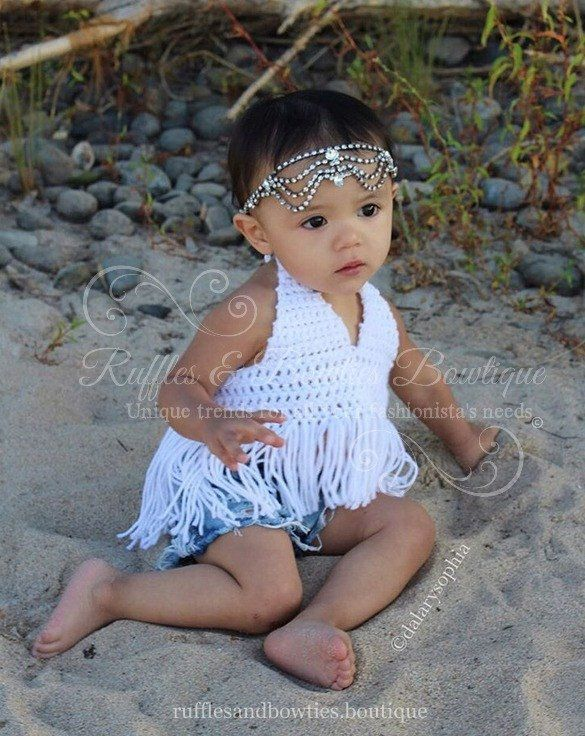 PRE ORDER - Boho High Low Fringe Baby Bikini Crochet Top - Baby Halter Top - Fringe Halter Top - Baby Crochet Top - Ruffles & Bowties Bowtique - 1