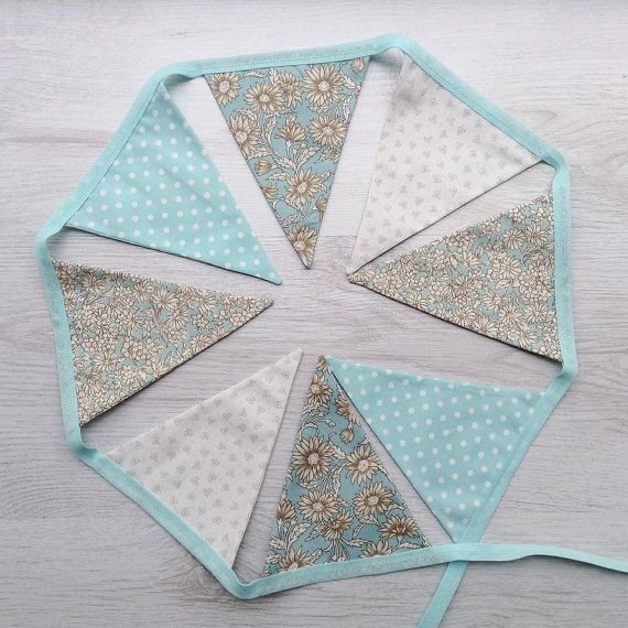 Aqua Floral Wedding Bunting Baby Shower Flag by BellaandRoo