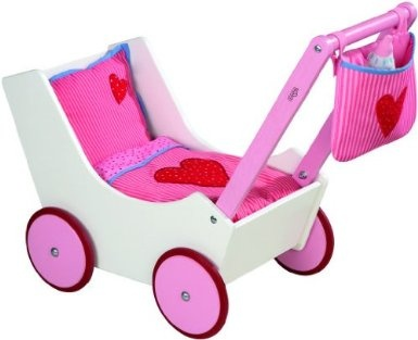HABA Doll Pram. Comes with little bag and bottle for on-the-go baby doll care :)