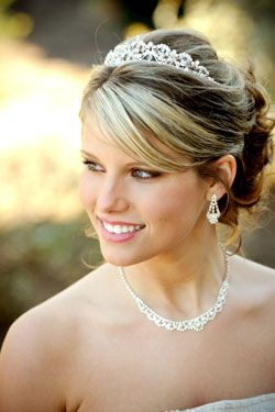 Wedding Hairstyles Updo With Tiara And Veil Attached In The
