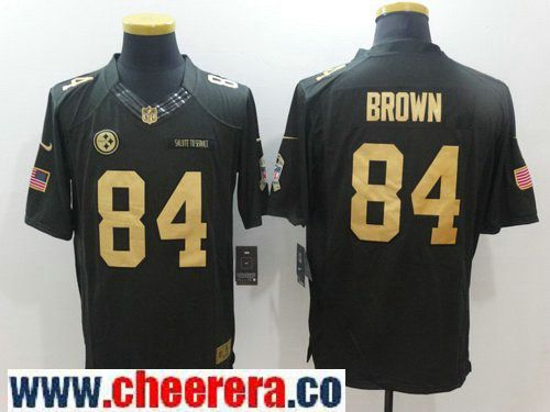 ... Elite GoldBlack Womens NFL Throwback Alternate 80th Mens Pittsburgh  Steelers 84 Antonio Brown Anthracite Gold 2016 Salute To Service Stitched NFL  Nike ... df9b36c96