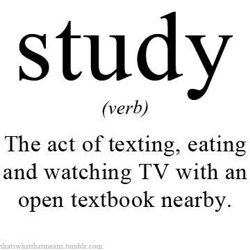 Or pinning and eating ice cream with your homework nearby...