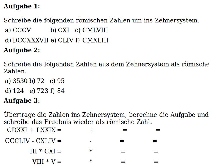 Lösung: Rechnen mit römischen Zahlen II