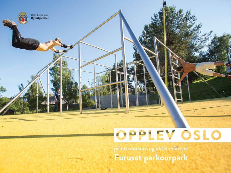 Plakater sommerkampanjen Opplev Oslo på en morsom og aktiv måte. Disse var på Leskur (Eurosize) og på store boards (City backlite). Furuset parkourpark.