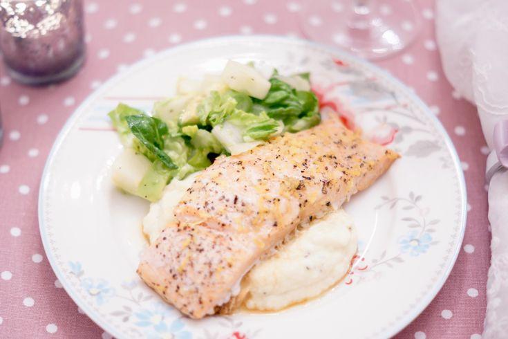 Salmon with lemon, ginger and cauliflower mash