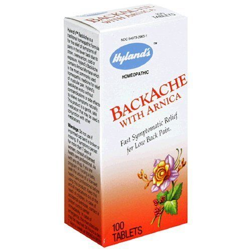 Hyland's Backache with Arnica, Tablets, 100 ct. by Hyland's Homeopathic. Save 18 Off!. $8.70. Homeopathic. Fast symptomatic relief for low back pain. Hyland's Backache is a traditional homeopathic formula for the relief of symptoms of pains in the lower back due to strain, overexertion, cold or exposure. Hyland's Backache contains Arnica Montana which is the most commonly used homeopathic medicine for relief of muscular pain. Hyland's Backache works without contraindications or side ef...