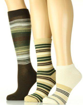 Womens 3-Pairs Lowcut, Crew, Knee-Hi Socks - Stripe - Gray/D. Gray/Black Nvie Designs. $9.99