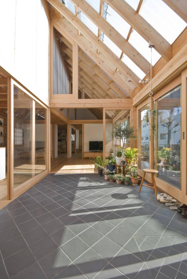 千田建築設計 の オリジナルスタイルの 温室 柏の平屋 ねじれ屋根のせ