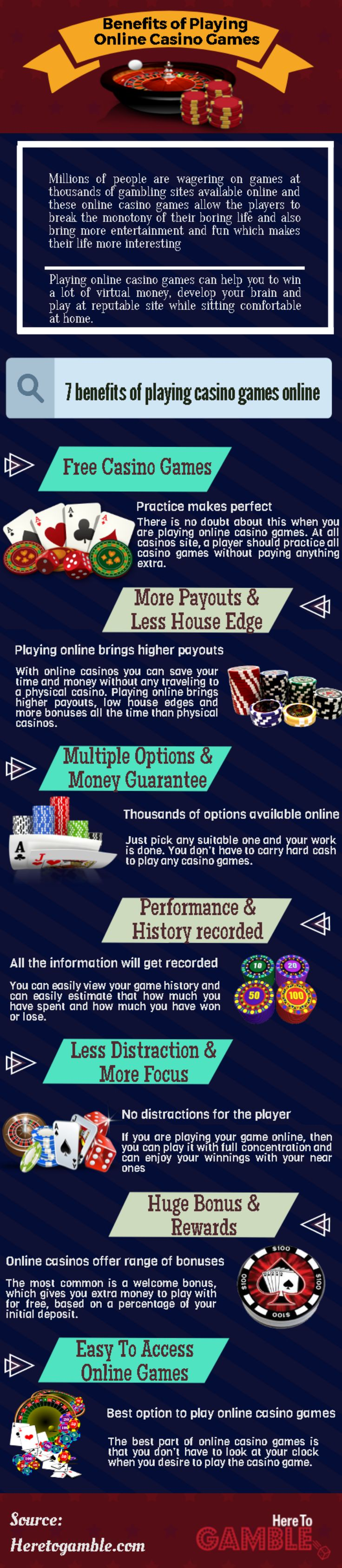 In this #infographic you will find the top Benefits of #Playing Online #Casino #Games. #HereToGamble