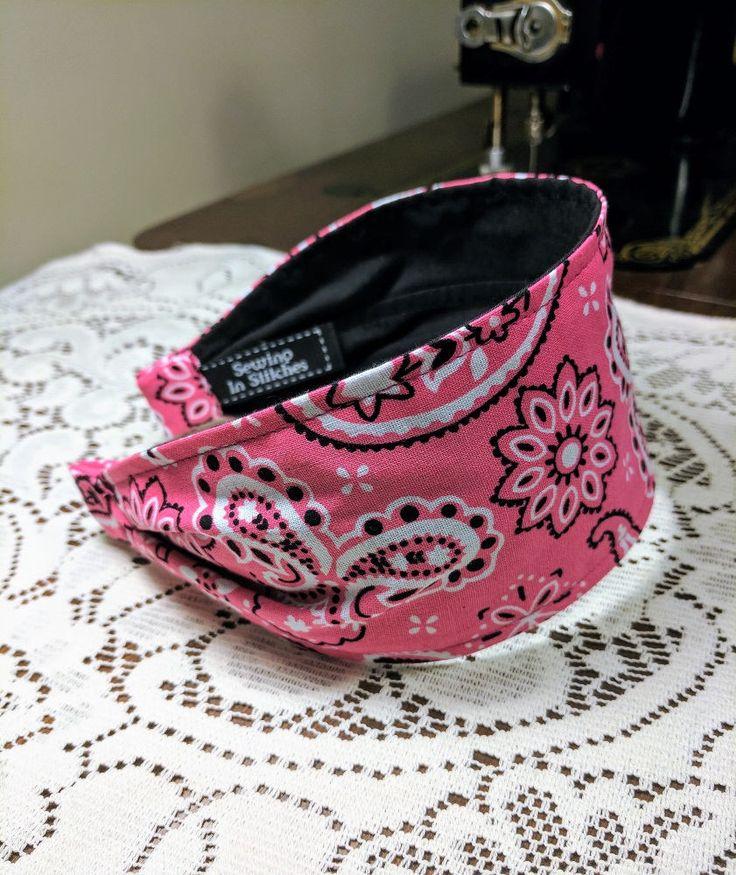 Bandanna Headband, Pink and Black Women's Wide Bandanna Headband, Flexible Headband, Cotton Headband, Comfortable Headband, Bandanna, BOHO by ImSewingInStitches on Etsy