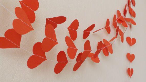 Valentine Garland Red heart paper garland by HelenKurtidu on Etsy