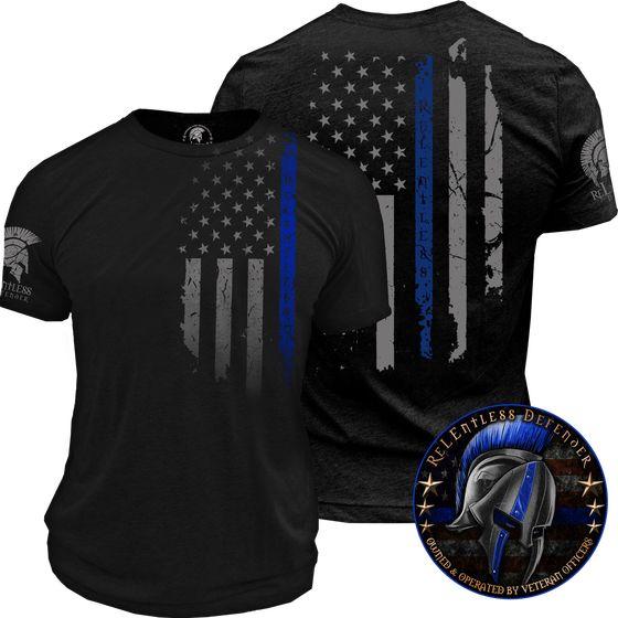 oath, relentless defender, thin blue line, shirt, men, police shirt, police flag