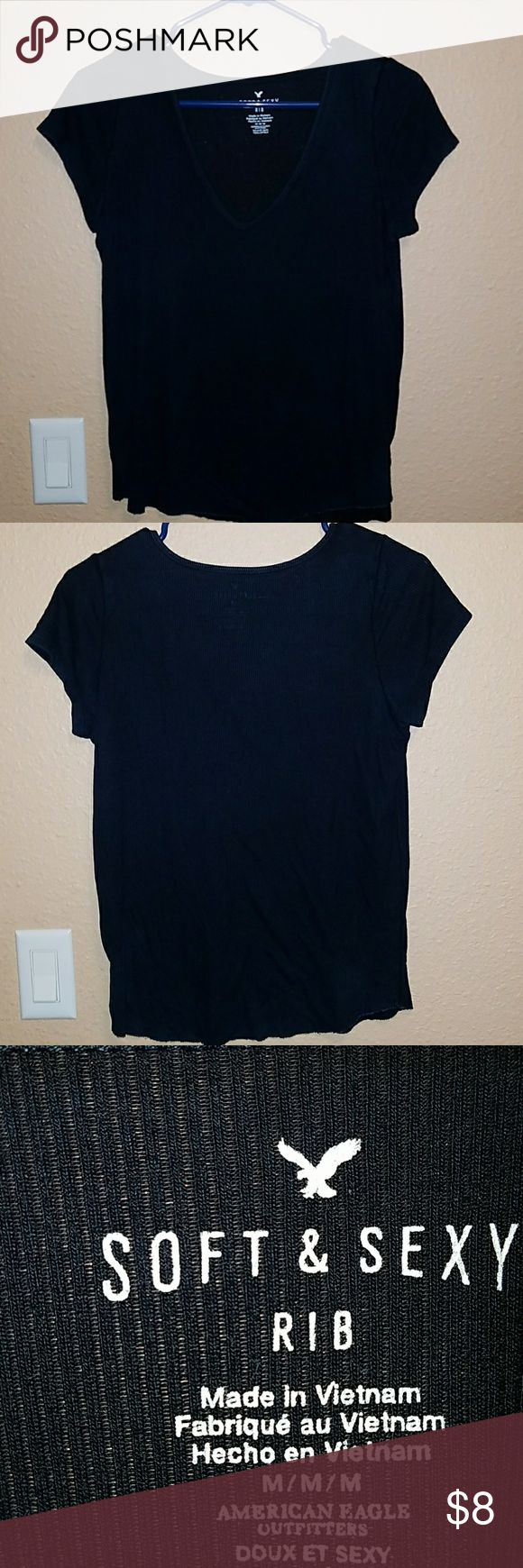 American Eagle T-shirt Extremly soft and in great condition. More of a navy blue than black. American Eagle Outfitters Tops Tees - Short Sleeve