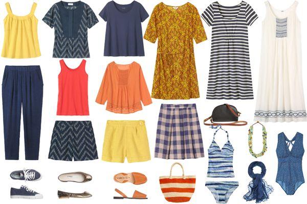 A Laid Back Summer Holiday Wardrobe. Color, shorts, dresses.