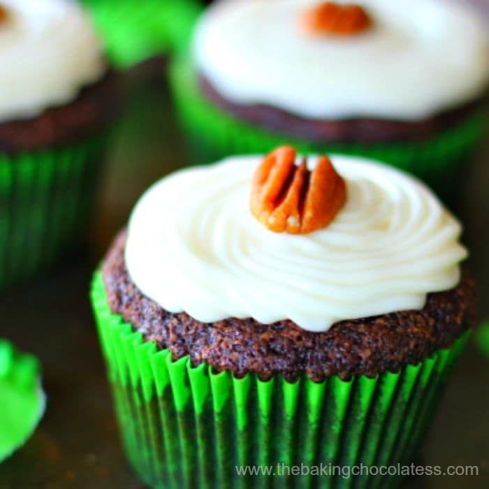 Cream Cheese Frosted Chocolate Zucchini Cupcakes via @https://www.pinterest.com/BaknChocolaTess/
