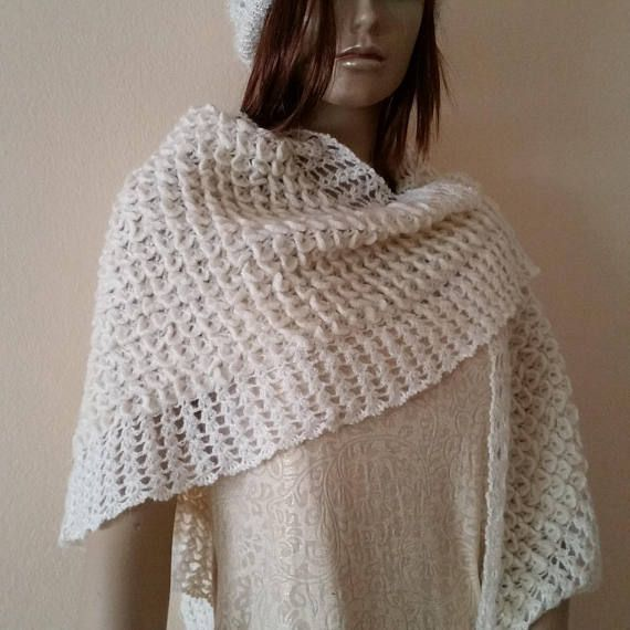 Ivory Crochet Shawl Wedding Shawl Triangular Shawl Crochet #wedding