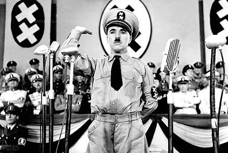 Charlie Chaplin as Adenoid Hynkel,a  spoof of Hitler from the classic The Great Dictator.