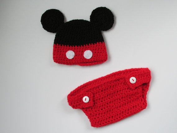 Disney Mickey Mouse diaper cover and hat set by HookdCustomCrochet, $24.99