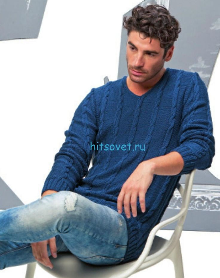 Синий мужской пуловер спицами
