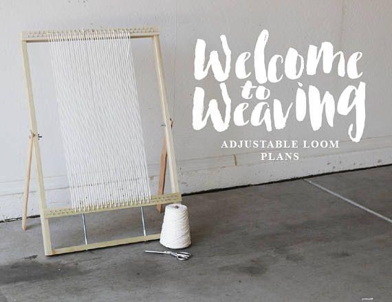 Xl Adjustable Weaving Loom Plans Digital File To Make Your Own Loom Diy Weaving Loom Weaving Weaving
