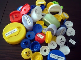 Bottle Cap Answer Keepers - fun way to recycle and do math, recording sheet included.
