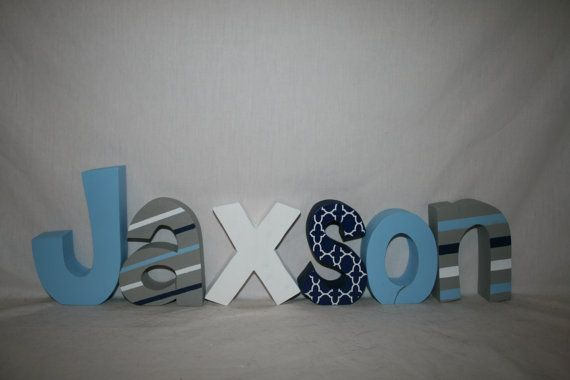 Think outside the box. This gray mixed with blues geometric letter set is sure…