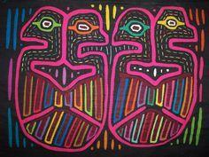 Kuna Indian Tribe 2 Head Bird Mola Panama San Blas-12.71850 ...