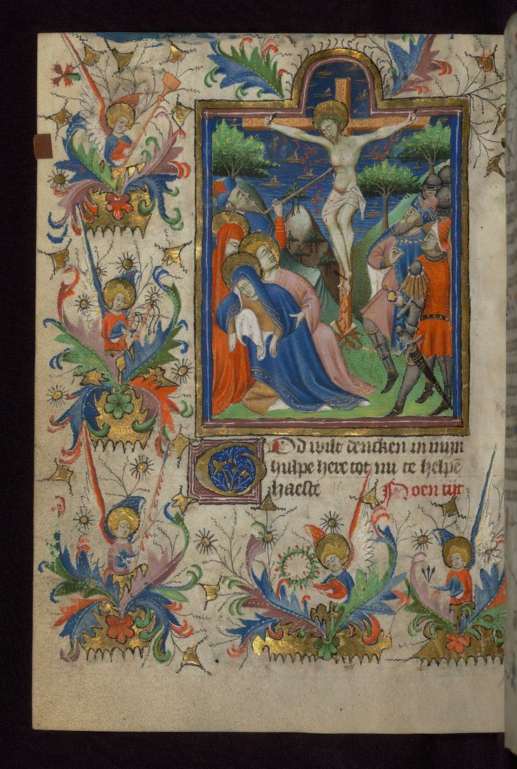 Amherst Hours, The Crucifixion, with angels, Walters Manuscript W.167, fol. 73v | by Walters Art Museum Illuminated Manuscripts