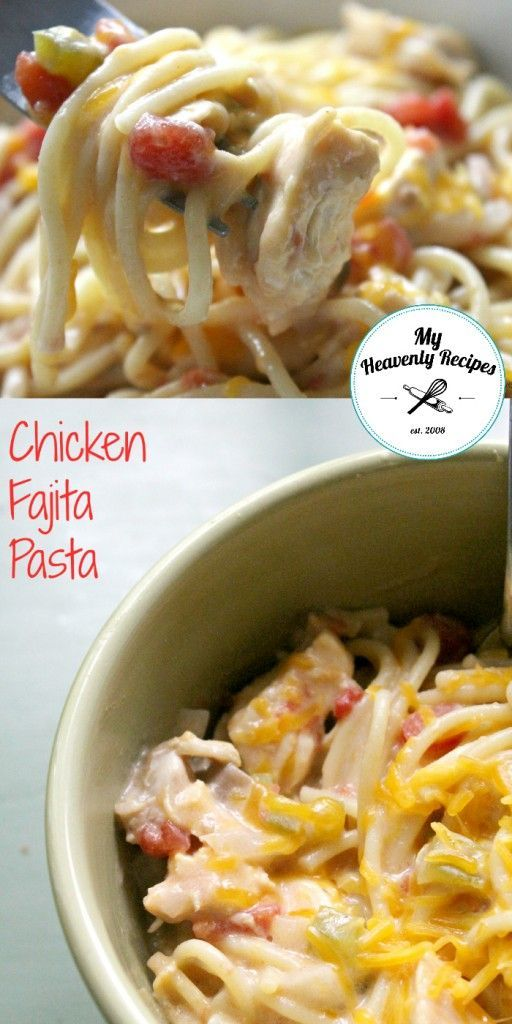 Chicken Fajita Pasta Crock Pot Recipe - A quick & easy week night recipe. Dump all the ingredients in, let it cook in the @crockpot while at work and come home to a delicious meal made with chicken breasts.