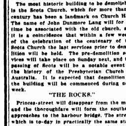 "24 Nov 1926 - OLD SYDNEY. Church Hill and the Rocks. ""Princes-street will disappear from the map""."