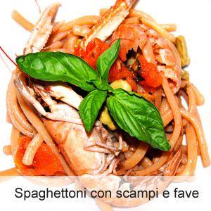 Spaghettoni freschi con scampi e fave - La ricetta di OsteMatto