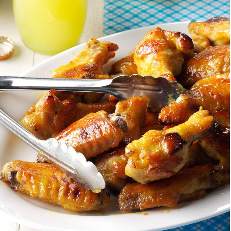 Honey-Mustard Chicken Wings Recipe -For a change from spicy buffalo sauce, try these sweet and sticky wings. There's a good chance they'll become your new favorite! —Susan Seymour, Valatie, New York