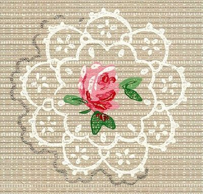 Pretty Vintage Wallpaper - Doily Roses - The Graphics Fairy