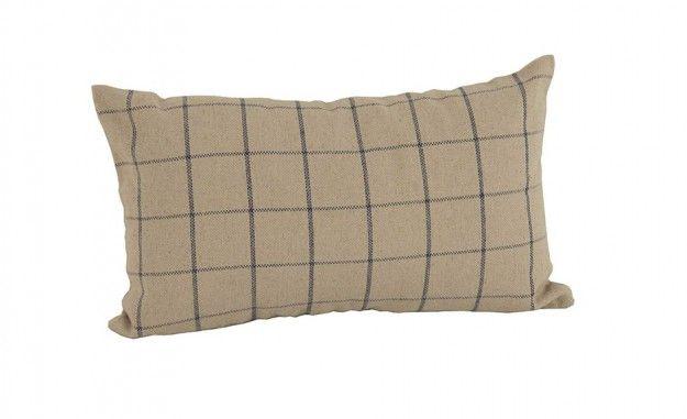 Coj n cuadros beige c lido coj n en lino en forma - Cojin para cabecero de cama ...