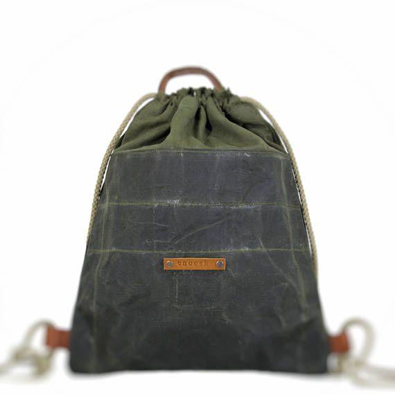 Waxed canvas bag waxed canvas backpack drawstring bag gym