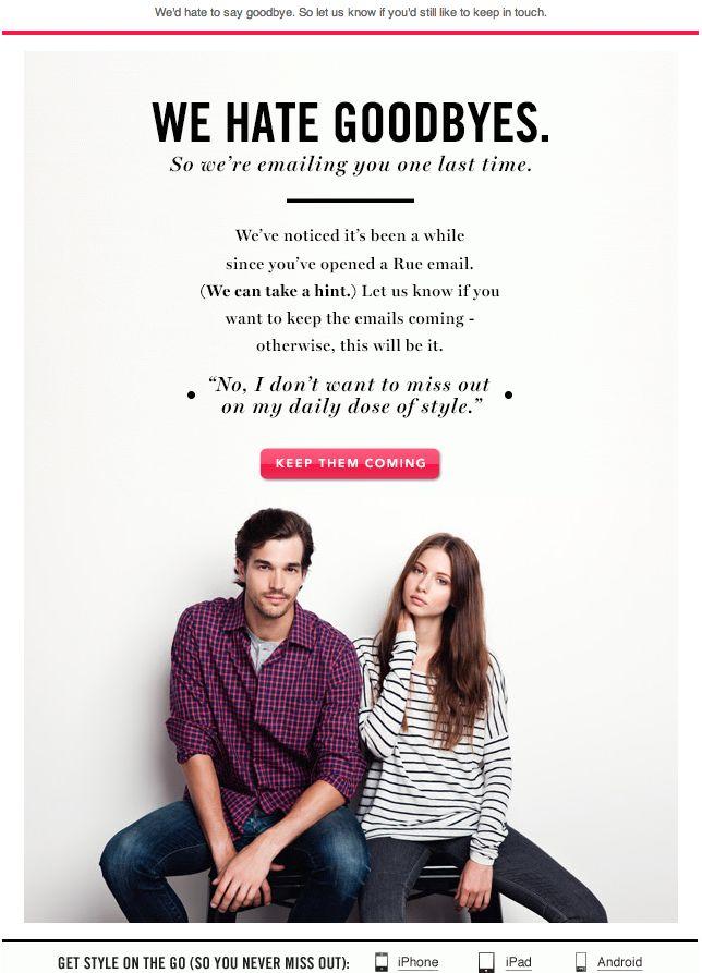 Rue La La - we miss you email