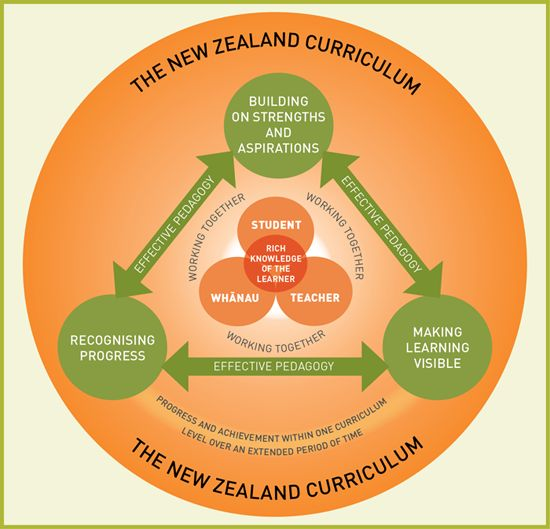 The framework below embodies the key elements of an inclusive school curriculum that together ensure progress and achievement for all students. It shows the teacher, student, and whānau at the centre of the inclusive curriculum, working together (and with others) to gather rich knowledge of the student.