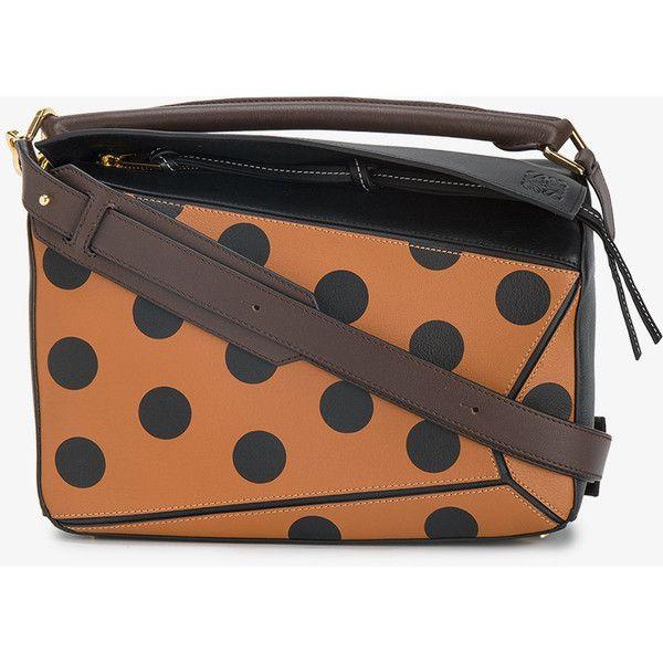 Loewe Puzzle polka dot shoulder bag ($2,695) ❤ liked on Polyvore featuring bags, handbags, shoulder bags, top handle handbags, real leather handbags, zipper shoulder bag, zip shoulder bag and genuine leather handbags