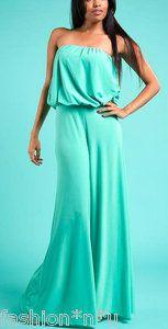 sexy mint green elegant strapless wide leg pants suit dress jumpsuit m. Black Bedroom Furniture Sets. Home Design Ideas