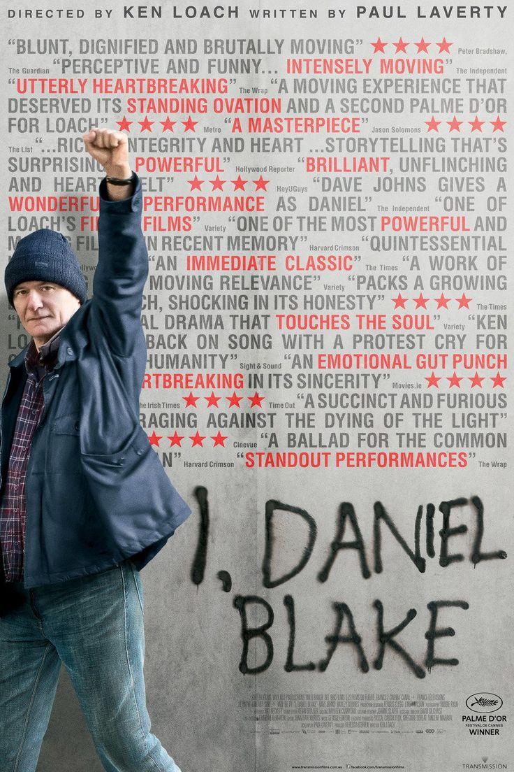 I, Daniel Blake is een dramafilm van de Britse regisseur Ken Loach. De film heeft op het filmfestival van Cannes de Gouden Palm gewonnen. Een film die heel sterk ontroert... een oproep tot een menselijke behandeling van iedere burger. Recensie lees http://www.demorgen.be/film/-i-daniel-blake-kleinmenselijk-drama-over-vechten-en-rechtop-blijven-bc2f7a4c/