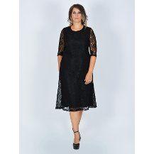 Nidya Moda büyük beden Sıfır Yaka Dantel Elbise-4036S