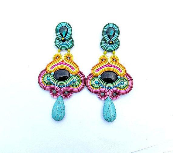Dangle Earrings Soutache Earrings Clips Long by StudioGianna, $69.00