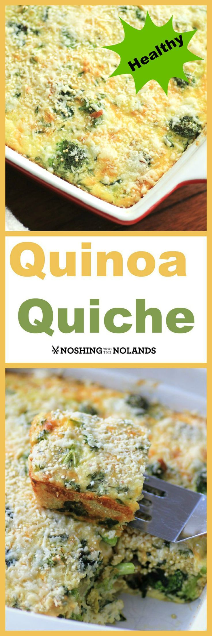 Vegetable Quinoa Quiche Recipe, from Noshing with the Nolands - Perfect for brunch or a meatless meal, this healthy recipe is packed with protein.