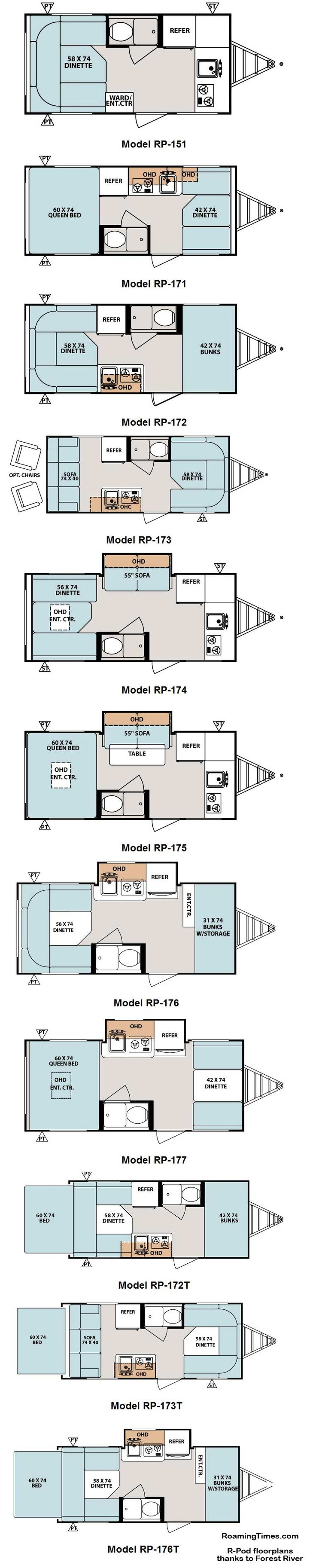2011 Forest River R-Pod travel trailer floorplans - 11 models