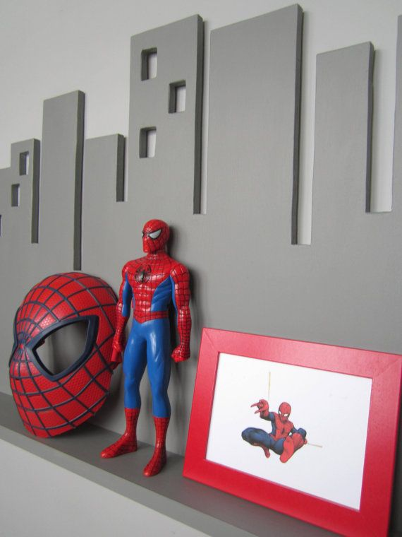 Cityscape Wall Shelf Large Gray Superhero Decor By